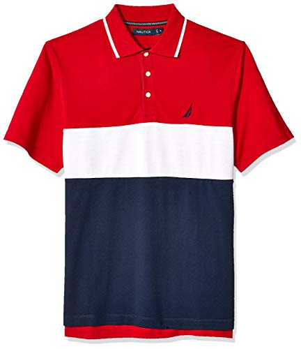 Nautica Men's Short Sleeve 100% Cotton Pique Color Block Polo Shirt, Red, X-Large