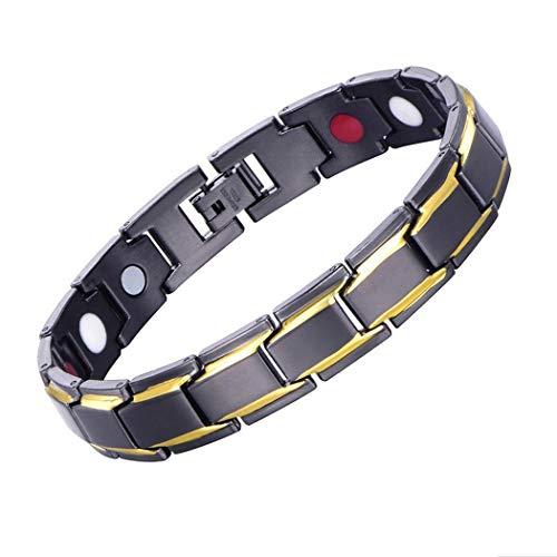 Pulseras magnéticas para hombre, acero de titanio y titanio, magnéticas para el cuidado de la salud, con herramienta de eliminación de eslabones, color dorado y negro