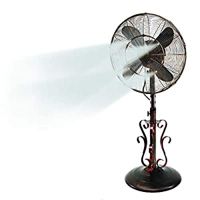"""Oscillating Fan with Misting Kit - 3 Cooling Speeds with High RPM - 40"""" to 51"""" Adjustable Height - Art Deco Floor Fan with Weighted Base and All-Weather UV Paint for Outdoor Use (Riverside)"""