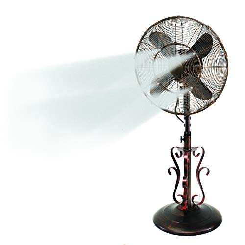 "Oscillating Fan with Misting Kit - 3 Cooling Speeds with High RPM - 40"" to 51"" Adjustable Height - Art Deco Floor Fan with Weighted Base and All-Weather UV Paint for Outdoor Use (Riverside)"
