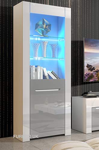 Furneo High Gloss & Matt White Grey Display Cabinet Cupboard Coronato 01G Blue LED Lights