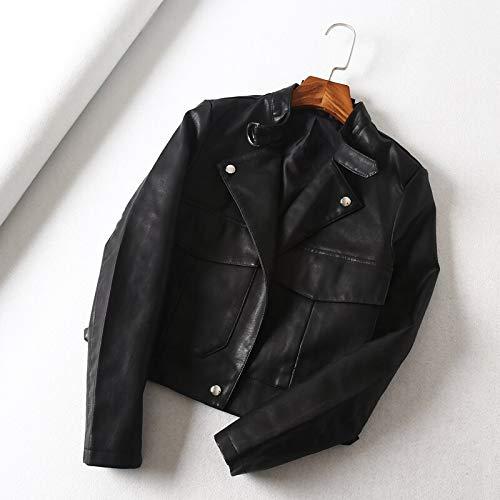 TIKEHAN Veste en Cuir Noir Moto vestes en Cuir Femme Mode Outwear Automne Grande poche Faux Pu Femmes Court