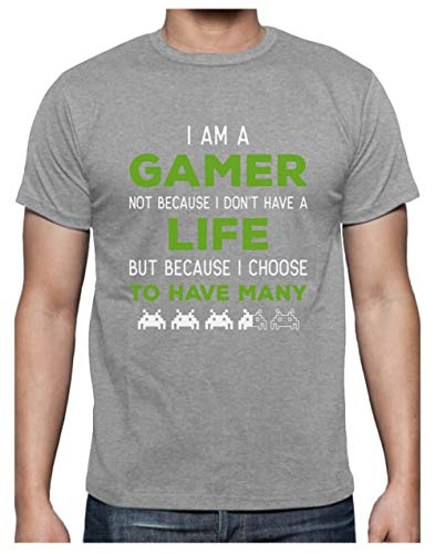 Green Turtle Camiseta para Hombre - Camisetas Frikis para Hombres, Regalo Gamer - I'm a Gamer Not Because I Don't Have a Life Large Gris
