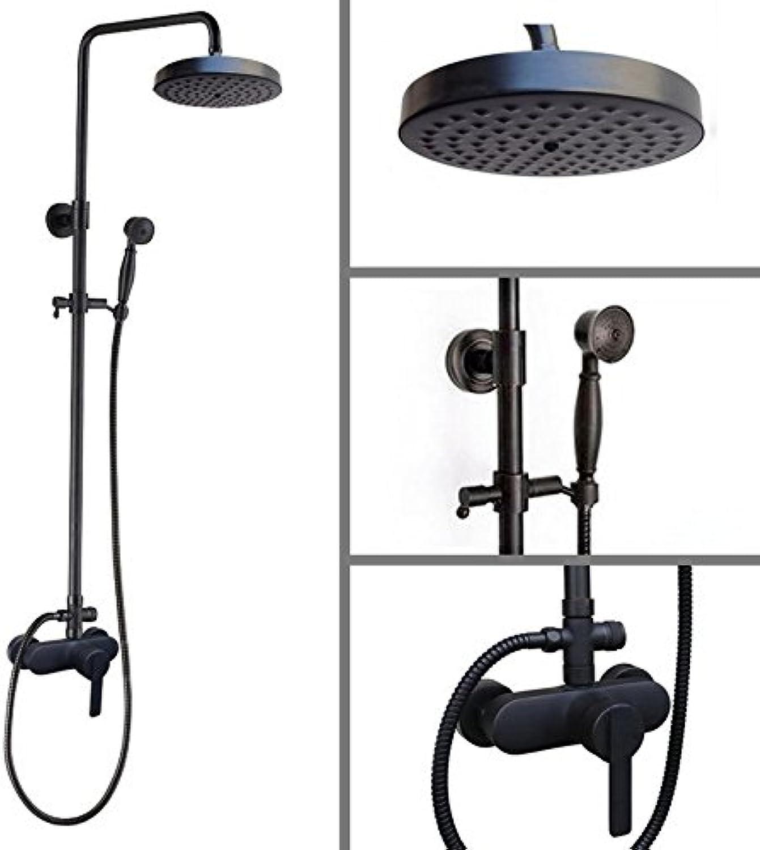Luxurious shower Schwarzes l eingerieben Bronze an der Wand montierte Badezimmer 8 Zoll runde Duschkopf einzigen Griff Regendusche Set Wasserhahn Mischbatterie Whg 152, schwarz