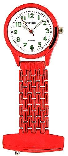 Citron NW13E–Taschenuhr, Armband aus Metall Farbe Rot