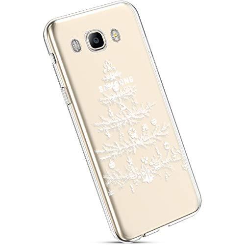Ysimee Custodia Samsung Galaxy J5 2016,Xmas Decorazioni Natalizie Custodie Gel Trasparente Silicone Morbida Ultra Sottile Chiaro TPU Antiurto Gomma Cover per Samsung J5 2016-Albero di Natale