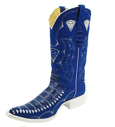 Dona Michi Men's Assorted Colors Leather Crocodile Print 3X Cowboy Boots Style-WD1342 (Blue, Numeric_10)