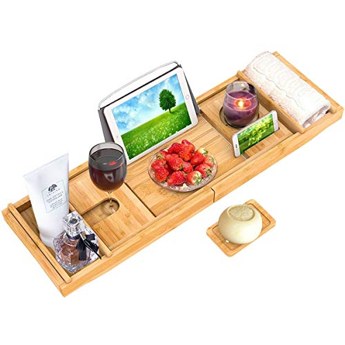 MISSHE Bamboo Bath Caddy Tray for Bathtub, Adjustable Organizer Tray for Bathroom with Free Soap Dish, Suitable for 1 or 2 Person Bath and Bed Tray, Luxury Spa or Reading