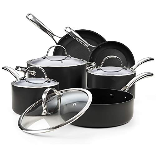 Cooks Standard Nonstick Hard Anodized Cookware Set, 10 Piece, Black