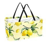 Bolsa de comestibles reutilizable grande, resistente bolsa de compras con parte inferior reforzada y asa (estampado retro con estampado de limón, color amarillo y fruta)