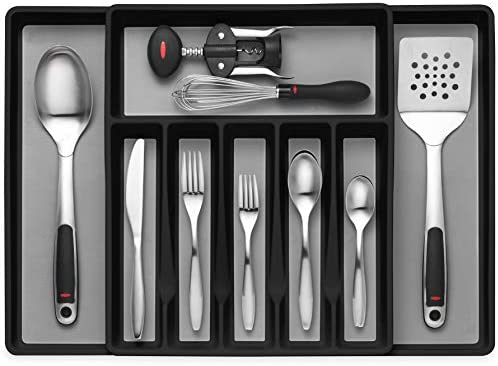 Expandable Cutlery Drawer Organizer Flatware Drawer Tray for Silverware Serving Utensils Multi product image