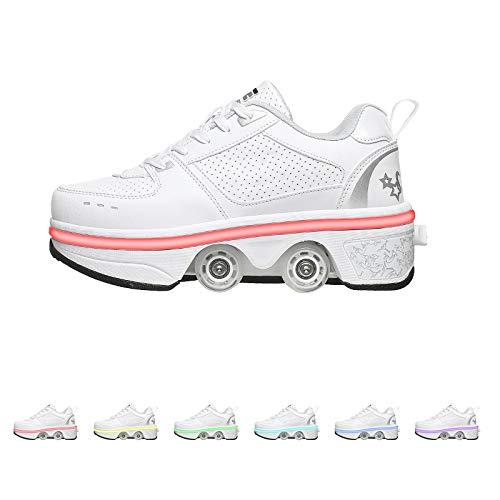 GWYX Rollschuhe Damen - Schuhe Mit Rädern Für Erwachsene, 2-in-1-Parkour-Schuhe, Zweireihige Vierrunden-Laufschuhe Skates LED-blinkende Sportschuhe,White-EUR36