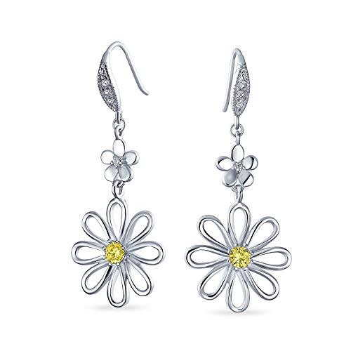 Jardín floral boda canario amarillo cúbico Zirconia acento abierto flor forma CZ Daisy colgante pendientes para las mujeres francés alambre 925 plata de ley