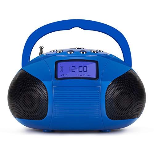 August SE20–Mini-Bluetooth-MP3-Stereoanlage–Tragbares Radio mit leistungsstarken Bluetooth-Lautsprechern, FM-Radiowecker mit Kartenleser, USB-Anschluss und AUX-Eingang –2x3-W-HiFi-Stereo-Lautsprecher (blau)