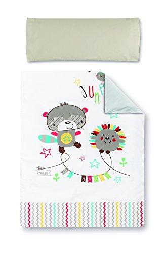 Pirulos 77013510 - Funda nórdica y funda almohadilla 100 x 135 diseño espín, color blanco y lino