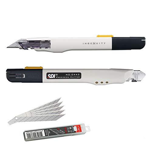 SDI - Confezione Taglierini Professionale Alta Precisione SDI Ingenuity con 10 Lame di Ricambio Acciaio SK2+Cr. di 9mm / 30º. Ergonomico e Adatto ai Mancini. Colore Avorio, Misurare 14 cm