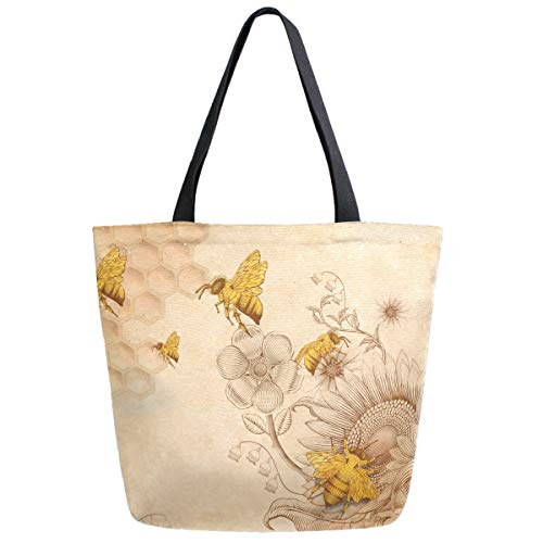 ZzWwR Rural Honey Bees Wildflowers Extra Large Canvas Shoulder Tote Top Handle Bag for Gym Beach Travel Shopping