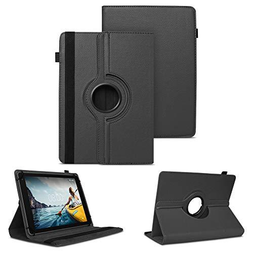 NAUC Tablet Schutzhülle kompatibel für Medion LifeTab P8502 Hülle Tasche Standfunktion 360° Drehbar Cover Universal Hülle, Farben:Schwarz