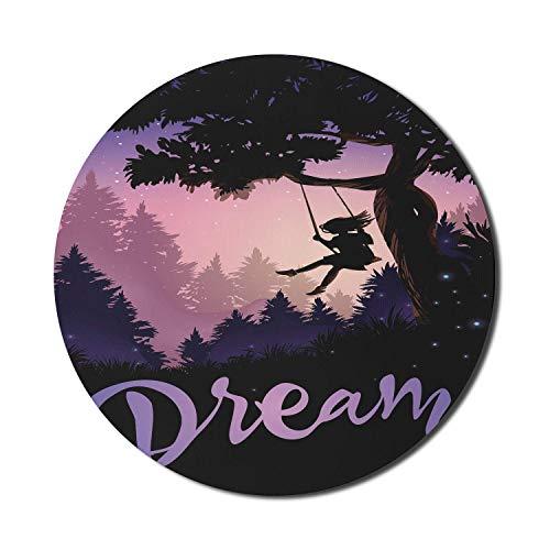Dream Big Mouse Pad para computadoras, inspirador diseño romántico con una niña en un columpio de árbol Ilustración de fantasía, redonda antideslizante de goma gruesa alfombrilla para juegos moderna,