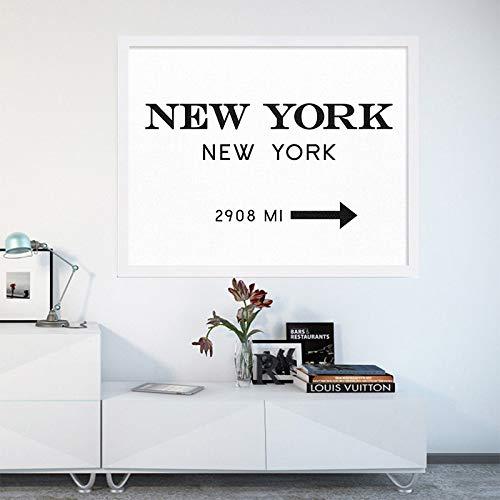 tzxdbh New NYC New York City Canvas Schilderij Mode Muur Kunst Zwart Wit Print Posters Muurfoto's Woonkamer Home Decor -in Schilderij & Kalligrafie van 80x60cm No Frame