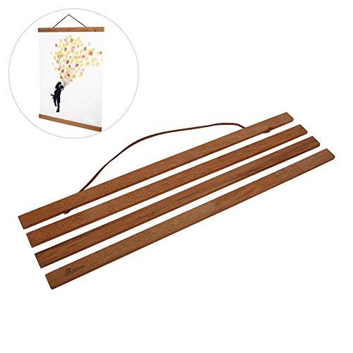 Delaman Elegant Posterschiene für Bilder Poster aufhängen Magnetische Klemmschiene aus Teakholz Verschiedene Größen (Size : 40cm)