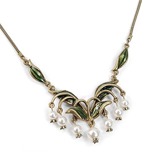 Sweet Romance Vintage Lily of The Valley Flower Bridal Art Nouveau Wedding Anniversary Pearl Necklace