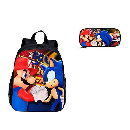Mochila escolar Sonic cartoon 2 unids / set de mochila escolar de jardín de infantes, mochila escolar con estampado de Super Mario Vs Sonic The Hedgehog para niños y niñas, mochila de viaje, mochila escolar