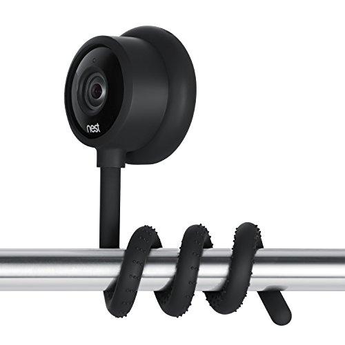 Supporto versatile arrotolabile per Nest Cam Indoor, Gancio a collo d'oca flessibile per videocamera Nest Outdoor attrezzi e senza danneggiare la parete - di Wasserstein (Nero)