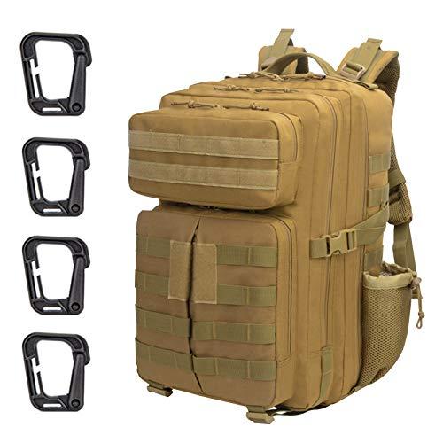 ZEHNHASE Zaino Tattico Militare 45L Tattico Molle Professionale Trekking Zaino Tasche Multiple in Nylon 900D ad Alta capacità per Campeggio, Zaino di Assalto, Escursionismo, Patrol Camping - Cachi