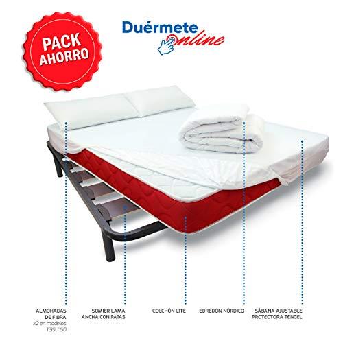 Duérmete Online - Pack Cama Completa Total con Colchón Lite + Somier Reforzado + Sábana Protectora Ajustable Tencel + Relleno Nórdico + Almohadas 135x190