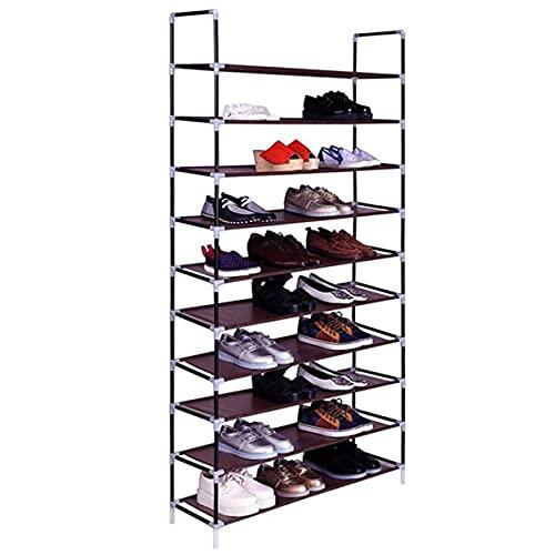 DYBITTS Zapatero ajustable de 10 niveles, estante organizador de zapatos con estantes de tela no tejida, montaje rápido, almacenamiento de zapatos (marrón)
