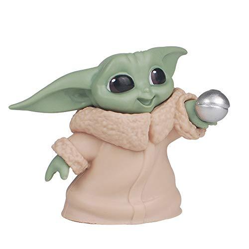 HLAA Baby Yoda Keychain Anime Charakter Modell Nette Auto Dekoration Anhänger Geschenk (Style-1)
