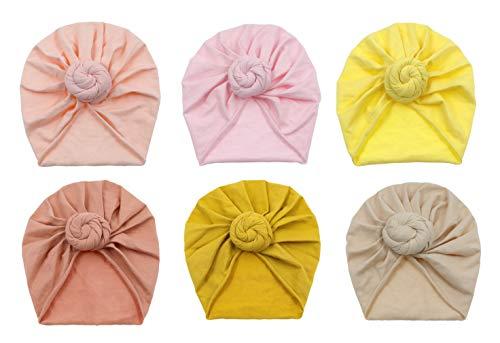 GEMVIE Turban Bonnet Bébé Fille Enfant Naissance 6 Pcs Chapeaux Bandeau Nœuds Papillons Mignon Elastique Enfant Serre Tête pour 0-2 Ans