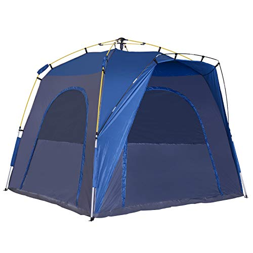 Outsunny 3 Season 5 Person Automatic Hydraulic Pop Up Camping Tent - Blue