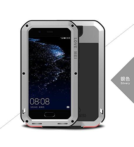 Original Love Mei [HS-TOP]  Huawei P10 Plus Powerful Hybrid - Carcasa de protección impermeable, antigolpes, antipolvo, carcasa de aluminio para Huawei P10 Plus, color plateado