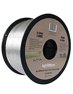 AgriOtter Aluminum Electric Fence Wire for Garden Fence, Electric Fence, Chicken Wire Fence, Craft Wire, 1/4 Mile(400M) 14 Gauge (2.0 mm.) (0.079inch)