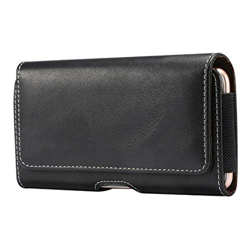 DFV mobile - Holster Horizontal Leather with Belt Loop para Blackview A7 Pro - Black