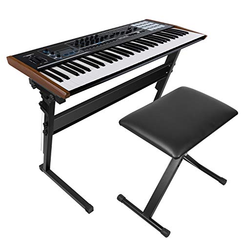 Kuyal Heavy-Duty, Double-X Adjustable Piano Keyboard Stand and Classic Piano Bench (Dual X)