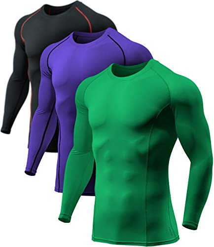 ATHLIO Men's Long Sleeve Compression Shirts, Active Sports Base Layer T-Shirt, Athletic Workout Shirt, 3pack(bls01) - Black & Red/Jungle/Purple, Medium