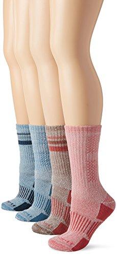 Carhartt Women's 4 Pack All-Season Boot Socks, Navy/Brown/Pink, Shoe Size: 5.5-11.5