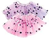 Dress Up Tutu Toddler Girls - Pink Tutu Girl & Purple Polka Dot Tutus Set– Glitter 2 Tulle Skirt – Birthday Gift, Dressup Trunk, Princess Party, Ballet Dance
