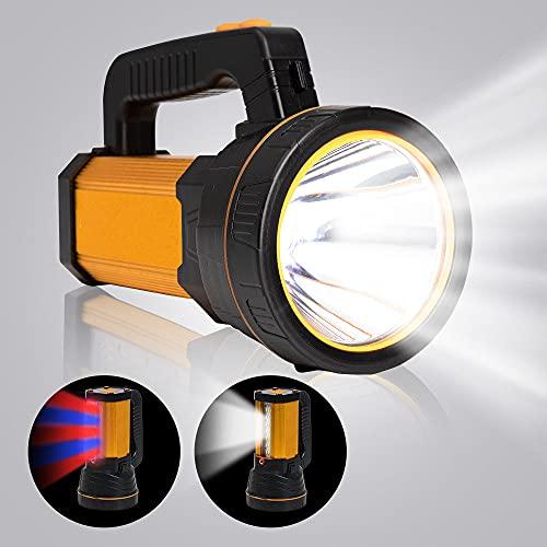 MAYTHANK Extrem helle Wiederaufladbare Taschenlampe Led Batterien 10000mah Akku 4000 Lumen USB Aufladbar Handscheinwerfer Handlampe Gross Suchscheinwerfer Flashlight Laterne Camping
