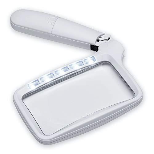 FC Optics große Leselupe Handlupe mit dimmbaren LED Licht - 2X Rechteckige Lupe Vergrößerungsglas Klappbar mit Beleuchtung für Senioren, zum lesen von Büchern, Zeitungen und Landkarten