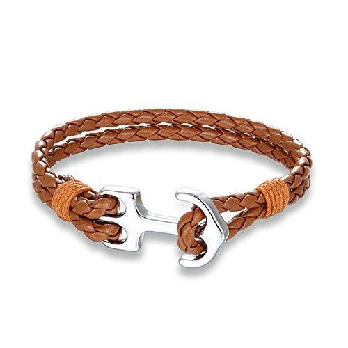GMZPP Modieuze meerlagige bedelarmbanden van leer, geweven, voor mannen en vrouwen, armband van leer, ankerarmband van metaal, ideaal geschenk bruin
