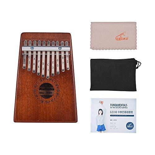 Muslady Kalimba Piano de Pulgar de 10 teclas Portátil Mbira Madera de Caoba Regalo de Instrumento Musical para Niñas Niños Amantes de La Música