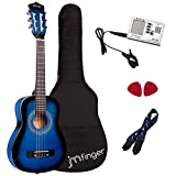 JMFinger Beginner Classical Guitar 30 Inch Kids Nylon Strings Guitar with Gig Bag, Strap, Picks, 3 in 1 Metronome & Tuner, Blueburst
