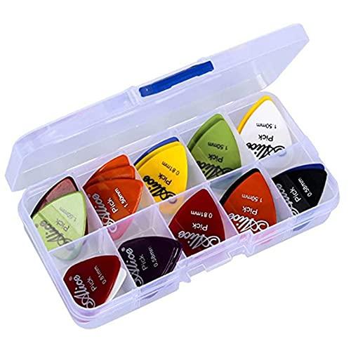 Chenzi 50 púas de guitarra con estuche de almacenamiento, varios colores mezclados y coloridos púas de guitarra hechas de ABS de alta calidad para tu guitarra eléctrica, acústica o bajo