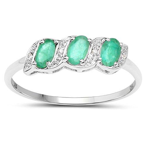 La Colección Diamante de Esmeralda: Anillo 9ct Oro Blanco de compromiso de Esmeralda y Diamantes,Anillo de Eternidad talla del anillo 10