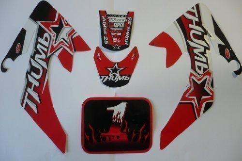 Hmparts Pit Bike / Dirt Bike Top Set de Pegatinas Thumb Rojo