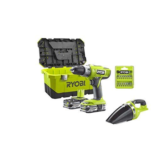 Ryobi 18V OnePlus Percussion Drill Pack LLCDI18-225 - Ryobi CHV182M Aspiradora de taller - 2 x 18V 2.5Ah LithiumPlus Bat
